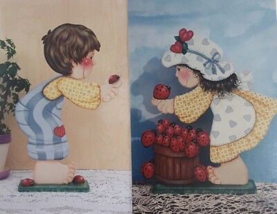 Wood Cut-Out Patterns Set of 2: Boy & Girl with Lady Bugs Folk Art 1998