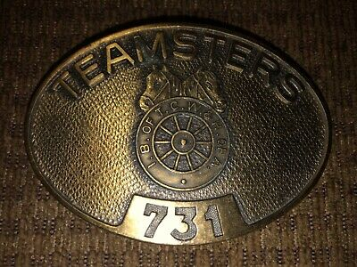 Vintage Authentic Teamsters 731 Solid Brass Belt Buckle- Union