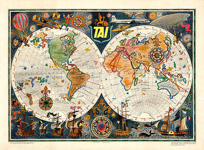 TAI Transports Aeriens Intercontinentaux Vintage A1 High Quality Art Print