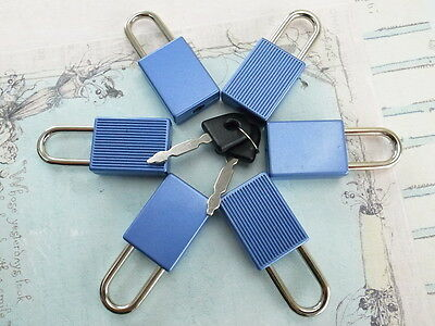 (6 pcs) Mini Padlock MATT BLUE COLOR Small Tiny Box Lock with Keys - NEW