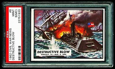 1962 CIVIL WAR NEWS # 8 ~ DESTRUCTIVE BLOW ~ GRADED PSA 9 MINT { mc }