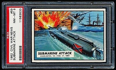 1962 Civil War News # 59 ~ Submarine Attack ~ Graded Psa 8 Nm-Mint { Tough !! }