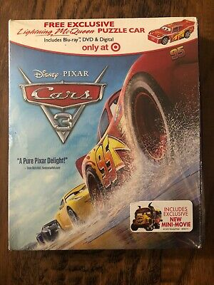 Cars 3 on (Blu-ray & DVD -Digital)Target Exclusive with Puzzle Car - NEW -Pixar