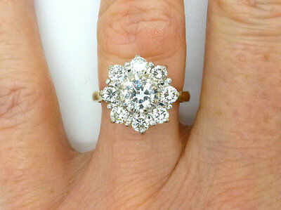 2 Ct Round Cut Diamond 14K Real Yellow Gold Halo Flower Cluster Engagement Ring