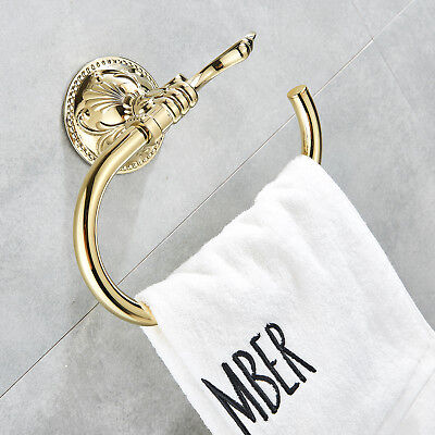 Polished Gold Brass Bathroom Towel Ring Holder Towel Bar Wall Mounted Single New