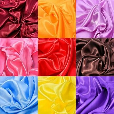 Silky Satin Fabric Plain Dress Material 150cm Wide Wedding Prom Party Handmade
