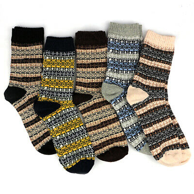 5 Pairs Mens Soft Ethnic Thick Socks Multi Colored Winter Warm Cashmere Sock