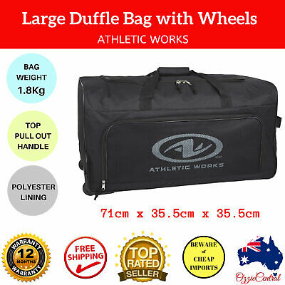 Large Duffle Bag with Wheels Black Mens Suitcase Travel Camping Sports Tote Gym