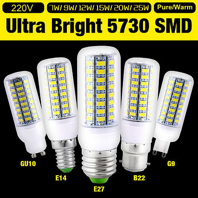 1/4/10x Bright E27 E14 G9 B22 Bayonet 5730 SMD LED Corn Light Spot Bulb