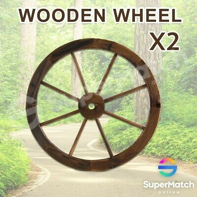 Outdoor Decoration Large Wooden Wheel x2 Garden Decor Feature Wagon Wheels