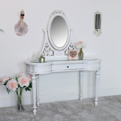 Large antique cream dressing table & mirror set vintage French shabby chic room