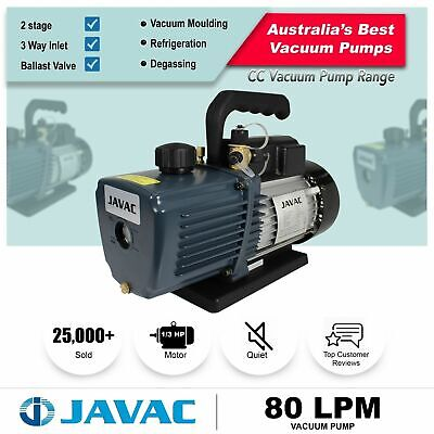 Vacuum Pump - JAVAC Dual Stage 80l/pm - 3 Way Inlet, 15 micron for Refrigeration