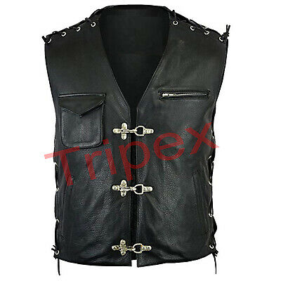 Men's Motorbike Real Leather Front Fish Hooks Biker Style Elegant Vest