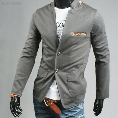 43E8 Men Casual Two Button Leopard Spicing Suit Blazer Grey Coat Jacket Dress L