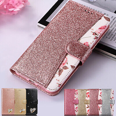 Luxury Leather Glitter Flip Bling Wallet Soft Case Cover For iPhone SE 6 6s 7 8