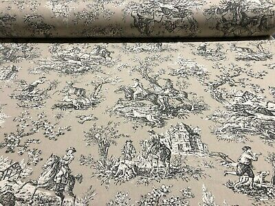 French Toile De Jouy Linen Fabric in Biege/Black/White - Double Width 280cm Wide