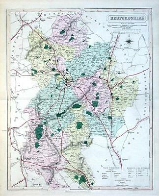 BEDFORDSHIRE, Walker Hand Coloured Antique County Railway Map ,  1877