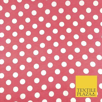 RED Soft Brushed Cotton Winceyette White Spot Dot Spotted Print Fabric RE914