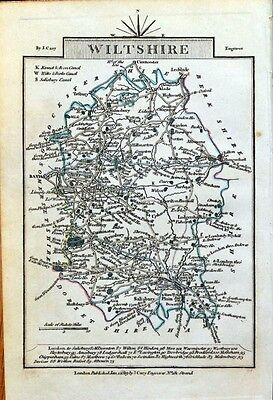 WILTSHIRE John Cary Original Hand Coloured Miniature Antique County Map 1819