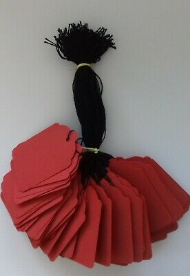 100 Red Strung Labels 69Mm X 44Mm Swing Tickets Gift Price Tags Black Strings