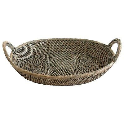 Oval Grey Wicker Rattan Bread Fruit Tray Basket with Handles in 2 Sizes