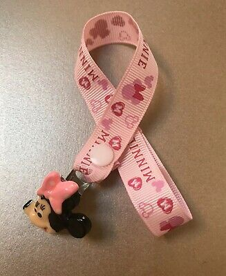 Baby Pink Minnie Mouse Dummy Soother  Pacifier Clip  ~ NEW ~ No Beads ~