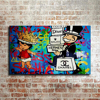 Alec Monopoly Oil Painting on Canvas art Decor,Shopping Monster, 2019 24×36inch