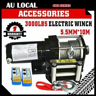 Wireless 3000LBS / 1360KG 12V Electric Steel Cable Winch Boat ATV 4WD Trailer A