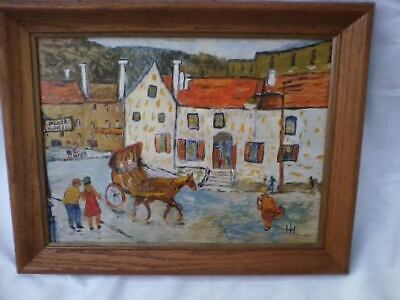 Vintage MCM Oil On Board French Village Cityscape Folk Art Painting Signed