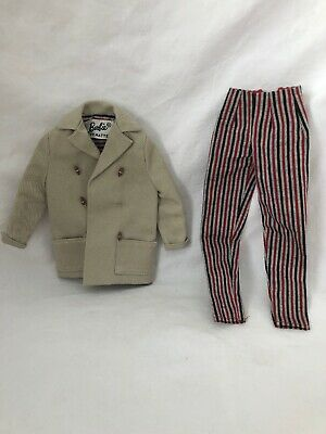 Vintage Barbie Doll Fashion Outfit 985 OPEN ROAD Tagged COAT and Striped Pants