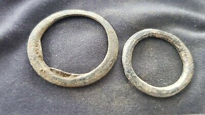Superb rare Celtic bronze money ring pair. A must read description. L102t
