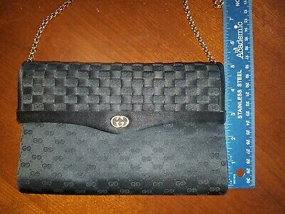 6faa1451ee1a Gucci Quilted Damier Woven Chain Strap Shoulder Bag Clutch Black Gold  Hardware