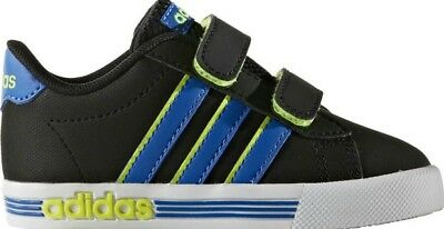 Adidas Infant Daily Team Nubuck Strap Trainers Size UK 5K Black Blue Yellow 7ddcefc37