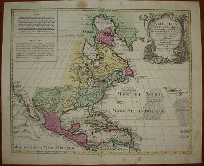 stampa antica North America United States Lotter old print 1775 mexico caribbean