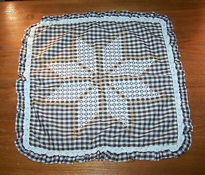"""1 Vintage Hand Embroidered Pillow Case 19"""" x 19"""" Brown & Off White"""