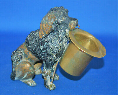 An antique painted metal poodle dog match or toothpick holder figure, Victorian
