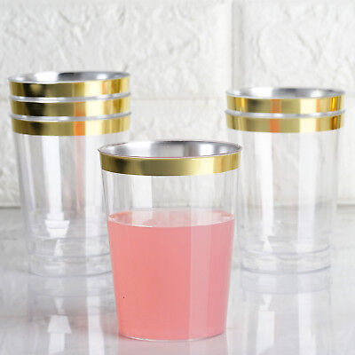60/120x GOLD Plastic Cups Disposable Rimmed Tumblers For Party Holiday Wedding
