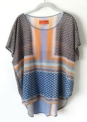 b4f53b4a4f016 Clover Canyon Chain Chain Mail Scarf Color Blocked Boxy High Low Top Size L