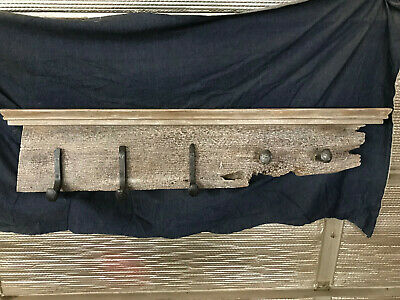 Coat Hat Rack reclaimed wood railroad spike antique vintage rustic shelf barn