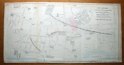FENCHURCH ST.TOWER HILL etc, LONDON STREET PLAN, CITY PLANNING antique map 1838