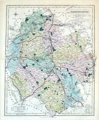 HEREFORDSHIRE,  Walker Hand Coloured Antique County Railway Map  1877