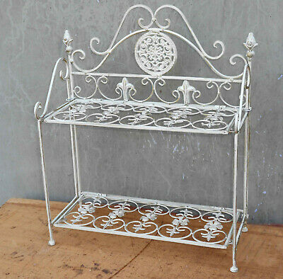 Metallregal, Eisenregal, Regal im Antik-Shabby-Style, antik-weiss, 40x48x18cm