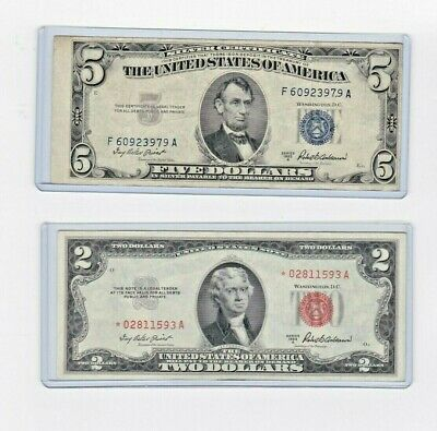 1963 $2 Red Seal Star note & 1953A $5 Silver Certfiicate lot of 1 ea new holders