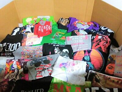 Wholesale Bulk Lot of 75 Graphic Novelty Printed T-Shirts Assorted Size & Styles