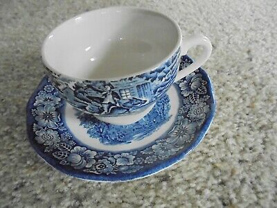 Liberty Blue Staffordshire Old North Church Cup And Saucer Made In England