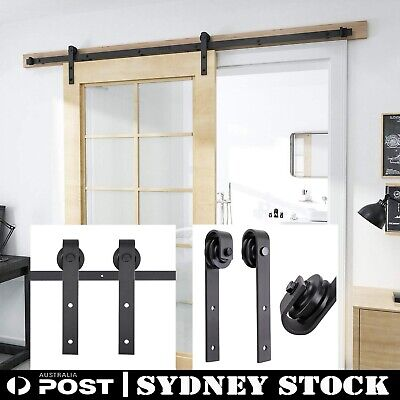 2M Rustic Antique Classic Sliding Barn Door Hardware No Joint Track Kit ONE