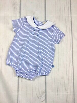 b0ecd4996 Sky And White Striped Baby Boys Romper With Sailor Collar By Mintini