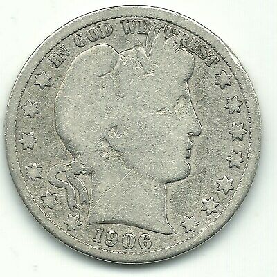 A Vintage Very Good Vg 1906 D Barber Silver Half Dollar Coin-Mar007