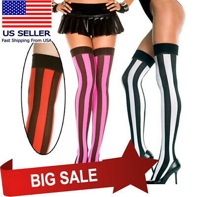 0a3528d2b Black Vertical Wide Striped Thigh High Stockings Halloween Pirate Witch  Costume