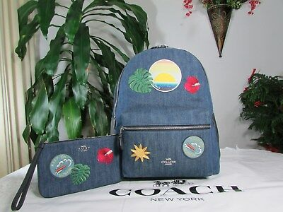886bba6e13f6 NWT Coach Blue Denim Hawaiian Charlie Backpack F28958   Wristlet F29372  Denim